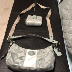 Coach gray crossbody with matching wallet